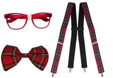Nerd Kit Fancy Dress Giant Bow Tie & Pink Geek Glasses & Suspenders Tartan Set