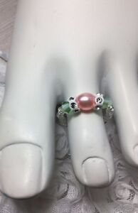 Handmade Pink/Green Crystal Pearl Swarovski Elements Stretch Toe Ring USA