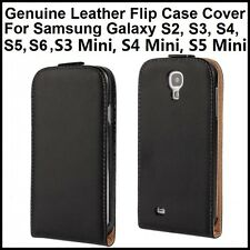 Black Genuine Leather Flip Case Cover For Samsung Galaxy S2 S3 S4 S5 S6 Mini