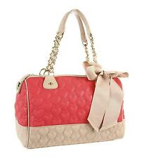BETSEY JOHNSON BE MY ONE & ONLY MINE QUILTED HEARTS SATCHEL BAG GUAVA PUTY NEW
