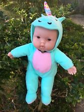 Gorgeous As New Soft JC Baby Doll In Unicorn Suit Green & Pink Cuddly Dolly