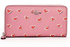 Coach Pink Hearts Accordian Wallet 53885 NWT