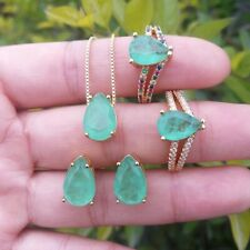 STUNNINGLY LUMINESCENT NATURAL GREEN EMERALD JEWELRY SET 14K GOLD 925