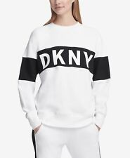 DKNY Womens Sport Colorblocked Fleece Sweatshirt White Size Medium