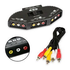 3 Fach Audio Video Umschalter Verteiler AV Splitter Adapter + Cinchkabel