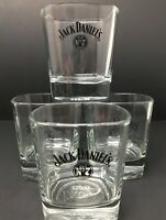 Jack Daniels Old No. 7 Set of 4 Lowball Rocks Square Glasses 3D Embossed Bottom