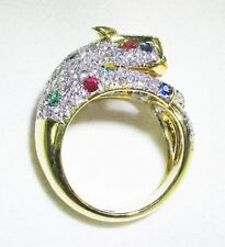 "18K Yellow Gold Ladies Diamond, Ruby, Emerald & Sapphire ""Panther Cocktail Ring"""