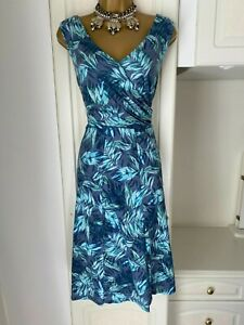 M&S Size Uk 18  Fab Leaf Print Lined Casual Dress Bust 44""