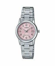 NEW Casio LTP-v002D-4B Women's Watch Stainless Steel PINK Analog DATE Display
