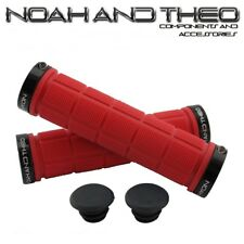 Noah And Theo Double Lock On Mountain Bike Bicycle Handlebar Grips RED BLACK