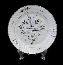 Silberhochzeits Blumen Teller um 1900 wohl Schlesien Böhmen 99840354