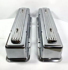 Rocket Finned Aluminum Valve Covers Tall for 1958-1986 SBC Chevy - Show Quality