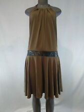 Victorias Secret brown olive green halter dress XL faux leather SISLOU P5