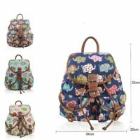 Elephant Printed Canvas Rucksack Patterned Retro Backpack