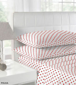 POLKA DOT FITTED SHEETS 100% COTTON BRUSHED FLANNELETTE IN RED TEAL PINK & BLACK