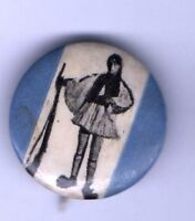 early APOLLO JEWELRY NYC pin Eastern European SOLDIER holds RIFLE pinback button