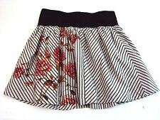 Wet Seal Striped Skirt With Flowers (Size Small)   (O4)