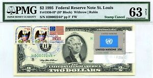 $2 DOLLARS 1995 STAMP CANCEL FLAG OF UNITED NATIONS LUCKY MONEY VALUE $22,244