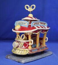"Disney Toontown Jolly Trolley Clayworks 8"" Pottery Figurine Tea Light Disneyland"