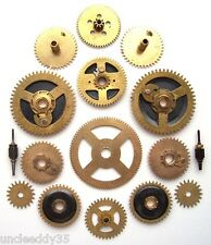 Lot of 14 vintage clock brass large gears wheels cogs 18-45 mm. Steampunk parts