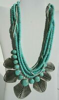 Lucky Brand Multi Strand Necklace Silver Plated Faux Turquoise Beads