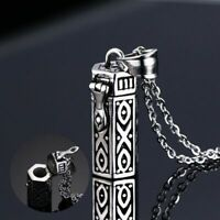 Odin 's Symbol Norse viking totem pole Ashes Holder Capsule Pendant Necklace
