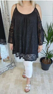 Black Lace Tunic Top Dress Cold Shoulder Bell Sleeve Long Stretchy 18 20 22 24