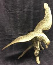"Vtg RARE 30"" Wide 24"" Tall Cast Brass Eagle on Log Statue Hawk USA LARGE America"