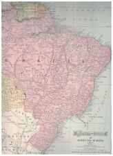 1906 Map of Brazil & Guiana & E Bolivia  Map of Chile Argentina Paraguay On Back