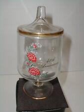 Fenton Glass 40th Wedding Anniversary Red Carnation Apothecary Candy Jar Dish