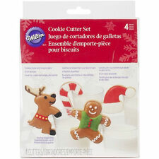 Christmas Milk & Cookies 4 pc Metal Cookie Cutter Set from Wilton #3282 - NEW