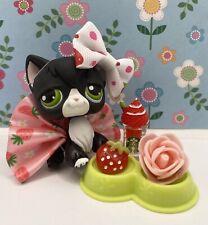 Authentic Littlest Pet Shop # 55 Black White Tuxedo Angora Cat Green Eyes