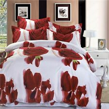 Mingjie Red Rose White Sanding 3D Bedding Sets 4 PCS Queen Size Bed Linen China
