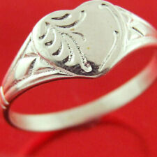 Sterling Silver Ring 925 Solid Ladies Engraved Signet Vintage Heart Style Size P