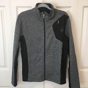 NWT Spyder Mens Raider Full Zip Jacket Small Charcoal Heather NEW Fleece Sweater