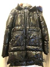 Jocelyn Short Puffer, Black Oil Slick, Rabbit Fur Hood, Small