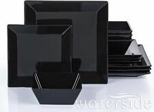 Modern Complete Square Dinner Set Black 12pc Dining Plates Side Plates Bowls Set