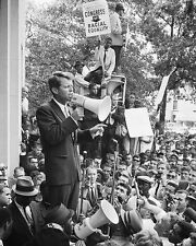 ROBERT F KENNEDY CIVIL RIGHTS DEMONSTRATION 8x10 SILVER HALIDE PHOTO PRINT