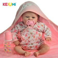 KEIUMI 16 Inch Reborn Baby Doll Toy Real Like Smile Girl Soft Silicone Doll