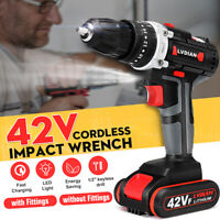 42V Electric Cordless Impact Wrench LED Drill Bits Driver Screwdriver &  / -