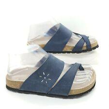 High Sierra Sevilla Leather Sandals Blue Slides Toe Strap Women Size 6 Spain