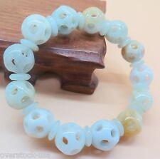 Natural Grade A Jade (Jadeite) 12mm Hollow Round Bead Bracelet Good Luck