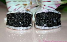 Stattlich: Schwarze Diamanten Ohrstecker mit Brillanten, 2,71 ct. WG-585 3.650,-