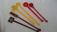 vintage swizzle sticks drink stirrer RETRO PLASTIC X6 MIXED LOT red yellow brown