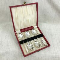 Art Deco Silver Plated Teaspoons Set Vintage Cutlery Spoons Boxed Cased