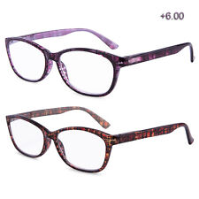 Reading Glasses High Power Magnification Spring Hinge Women Lady 2 Pairs 6.00