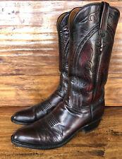 Men's Lucchese Western Cowboy Boots Size 11.5 B Narrow Black Cherry Goatskin