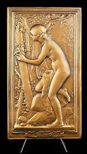 """Médaille allégorie de la virginité """"Le nid"""" sc Daniel Dupuis 13 cm 444g medal"""
