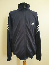 DD565 MENS ADIDAS BLUE WHITE LIGHTWEIGHT FULL ZIP TRACKSUIT JACKET UK L EU 52