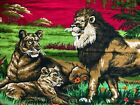 """VTG Brushed Cotton 57""""W x 38"""" Tall Wall Hanging Tapestry Lion Family Scene"""